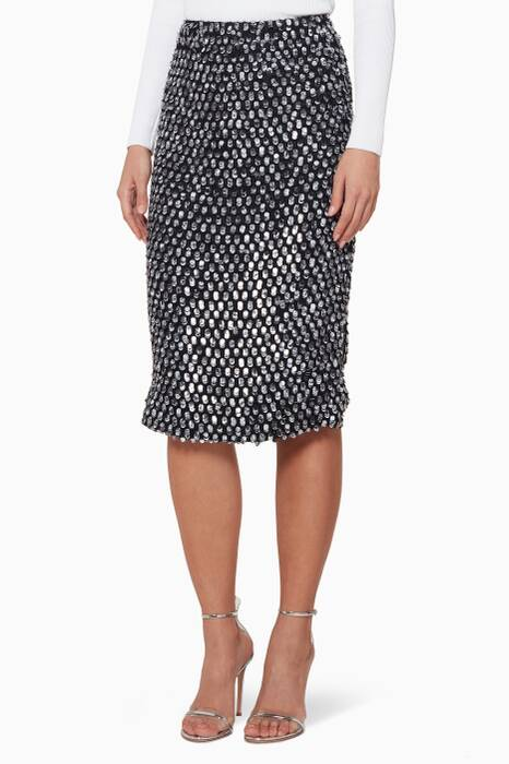 Black Sequinned Caterina Pencil Skirt