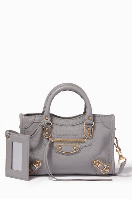 Grey Nano Classic Metallic Edge City Cross-Body Bag