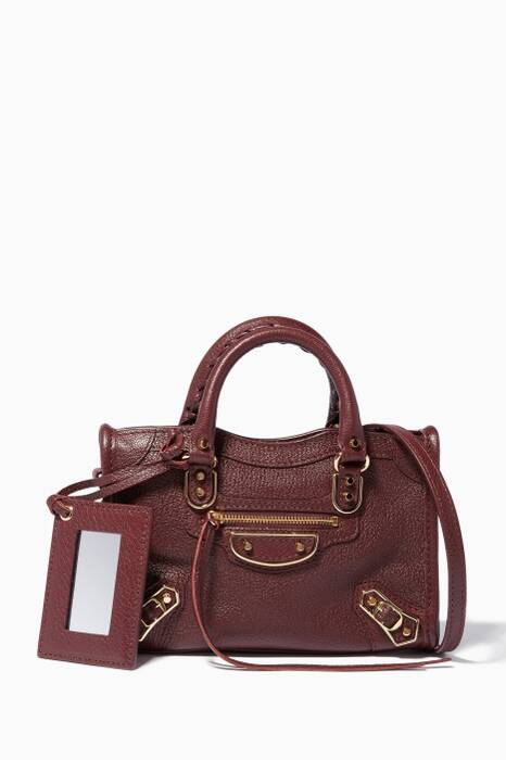 Dark-Red Nano Classic Metallic Edge City Cross-Body Bag