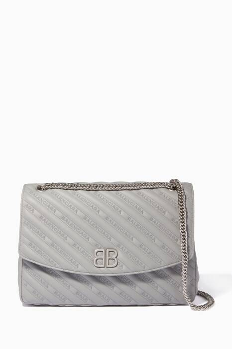 Light-Grey Chain Round S Shoulder Bag