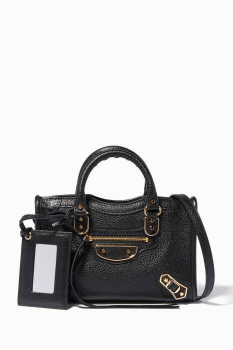 Black Nano Classic Metallic Edge City Cross-Body Bag
