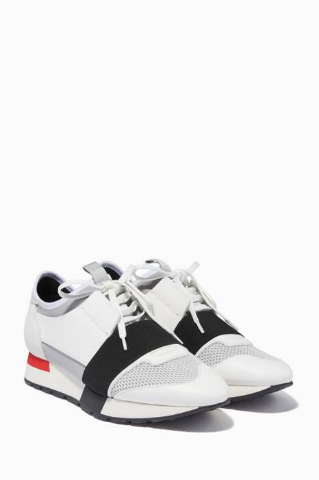 White Race Runner Low-Top Sneakers
