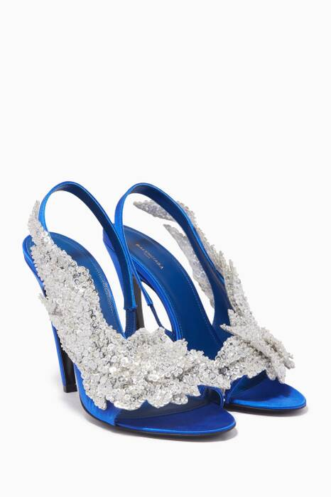 Blue Sequin-Embellished Slingback Sandals