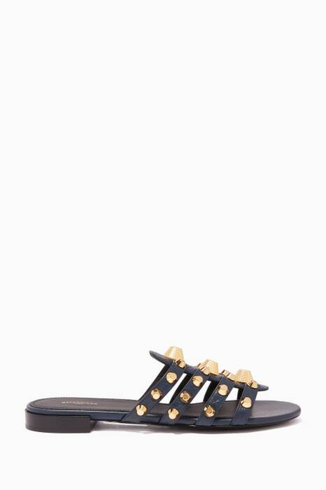 Black & Gold Arena Giant Flat Sandals