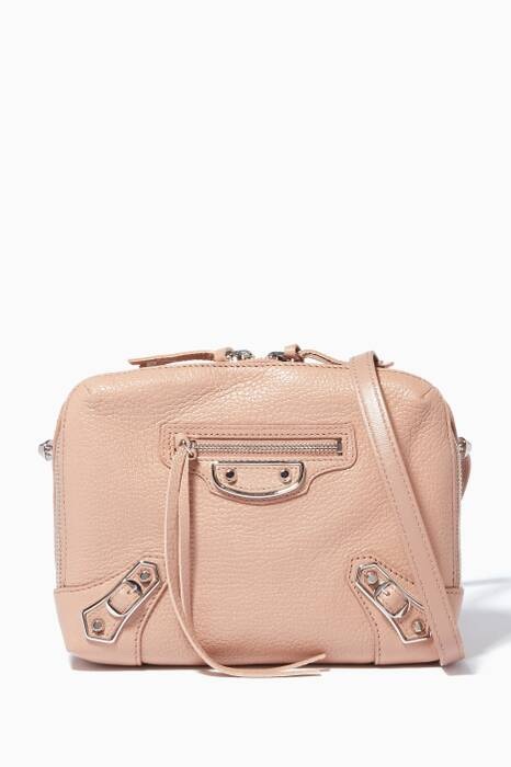Rose-Pink Metallic Edge Reporter Cross-Body Bag