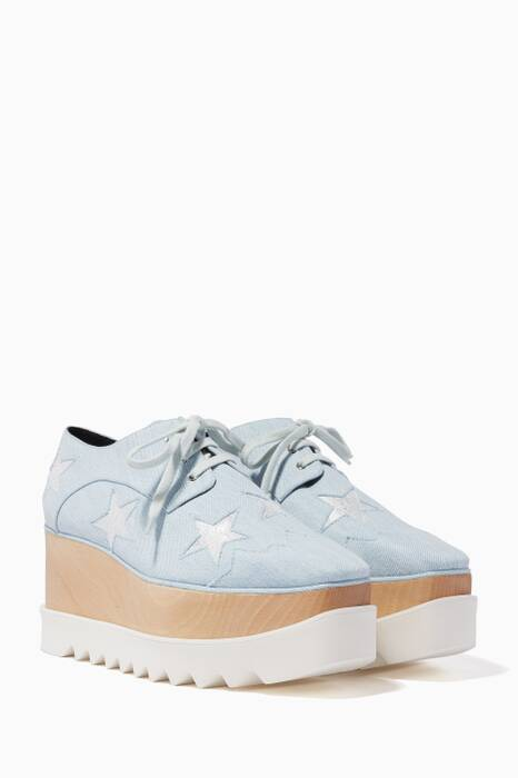 Bleached Denim Elyse Star Platforms
