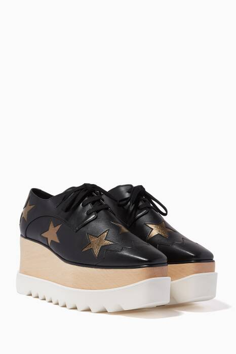 Black Elyse Gold-Star Platforms