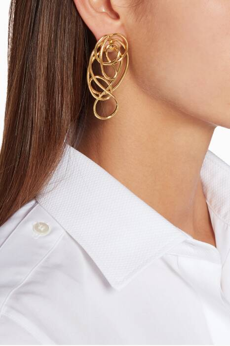 Gold Multi-Knot Ear-Jacket Earrings