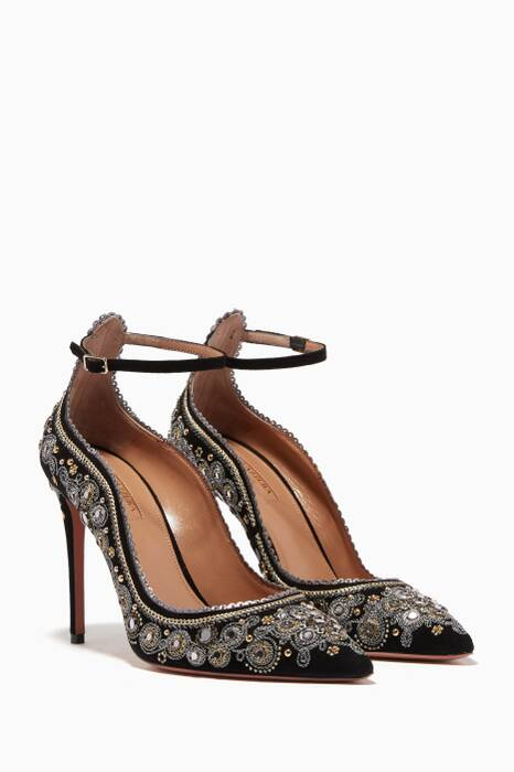 Black Embellished Jaipur Pumps