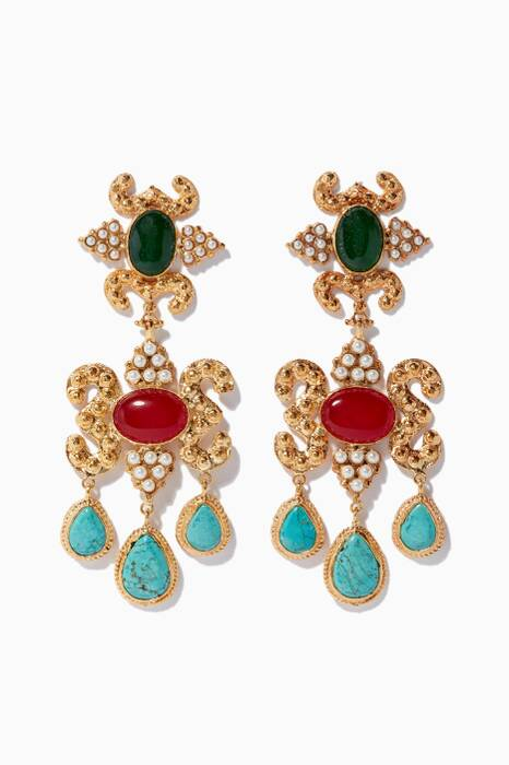 Gold Aceline Turquoise Earrings