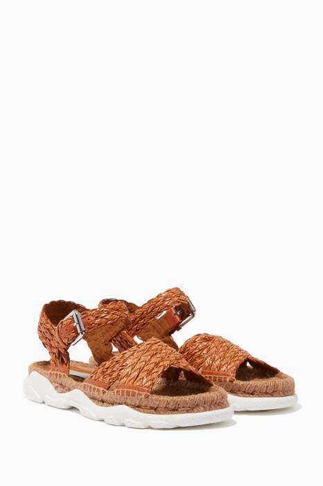 Brown Woven Espadrille Sandals