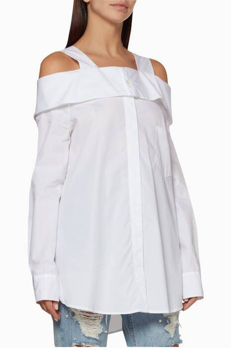 White Cold-Shoulder Oxford Shirt