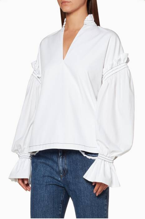 White Ruffled Peasant Top