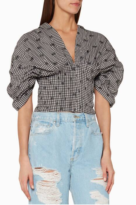 Black Smocked Gingham Bustier Top