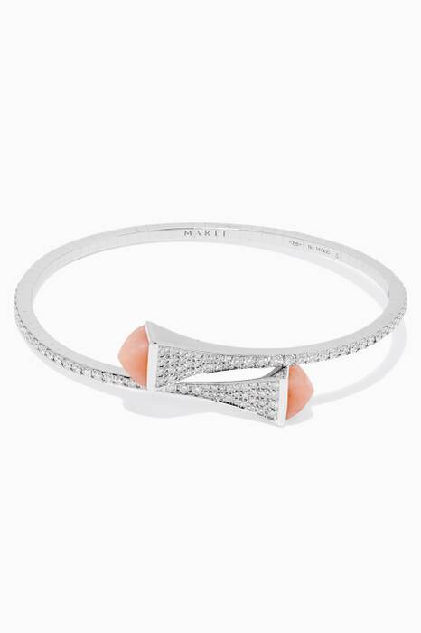 White-Gold & Diamond Opal Stone Cleo Bangles