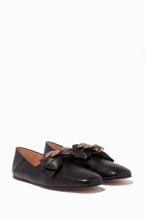 Black Queen Margaret Bow Ballet Flats
