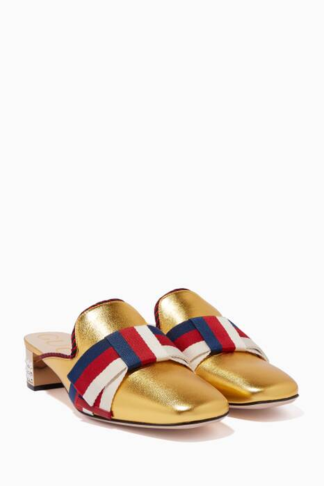 Metallic Gold Sylvie Crystal Loafers