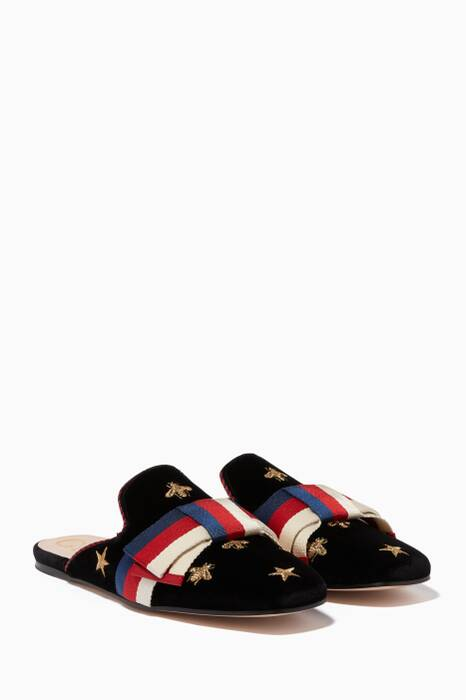 Black Embroidered Velvet Sylvie Bow Loafers