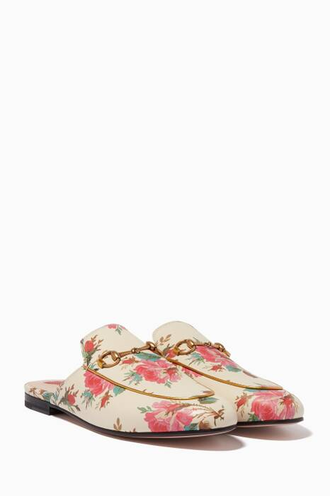 Ivory Princetown Rose Printed Leather Loafers