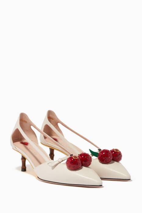 Off-White Leather Cherry Pumps