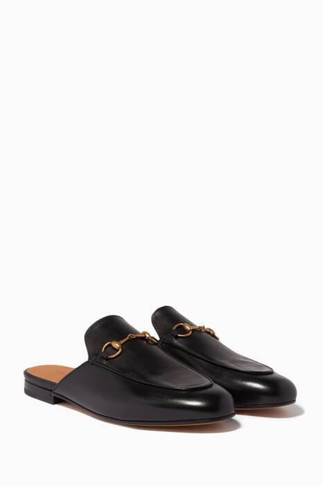 Black Princetown Leather Loafers