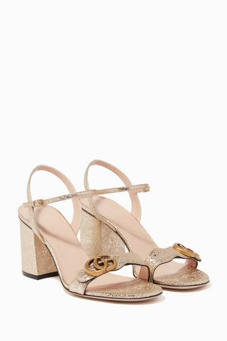 Metallic-Gold Marmont Laminate Leather Sandals