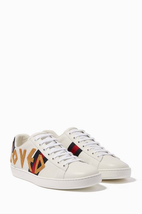 White Ace Embroidered Sneakers