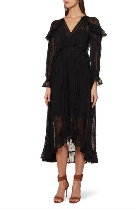 Black Lovelorn Cape Shoulder Dress
