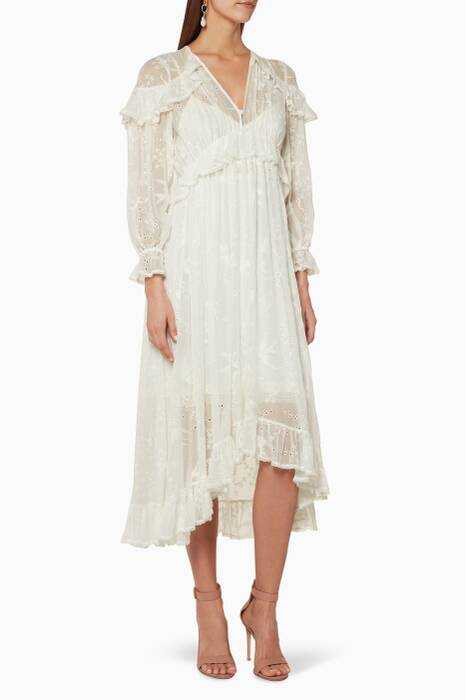 Ivory Lovelorn Cape Shoulder Dress