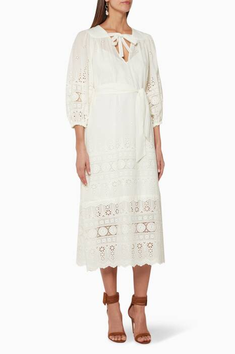 Ivory Kali Broiderie Tie Long Dress