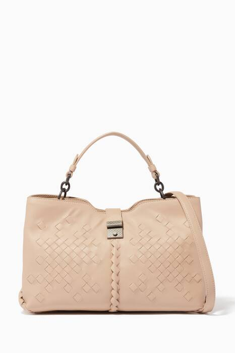 Beige Small Nappa Napoli Top-Handle Bag