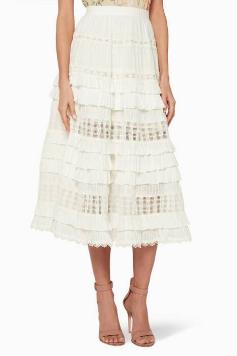 Ivory Layered Frill Corsair Skirt