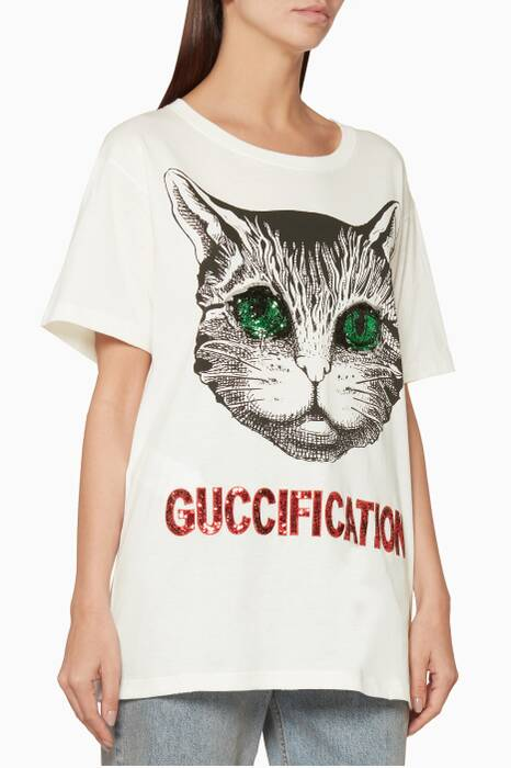 White Sequin Embellished Cat T-Shirt