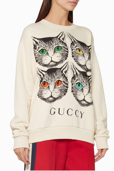 Ivory Mystic Cat Printed Sweatshirt