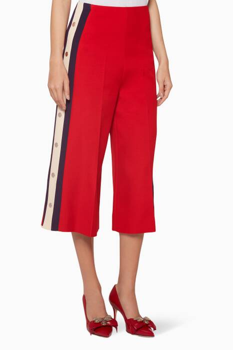 Red Stud Embellished Wide-Leg Pants
