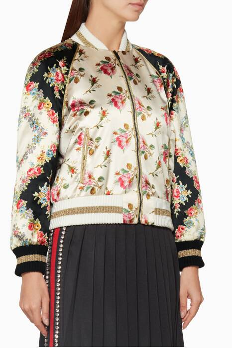 Ivory Rose Printed Baseball Jacket