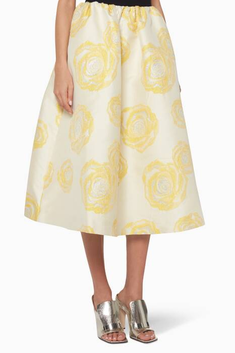 White & Gold Turenne Jacquard Skirt