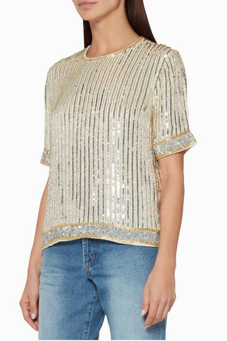 Gold Sequin Temple Top