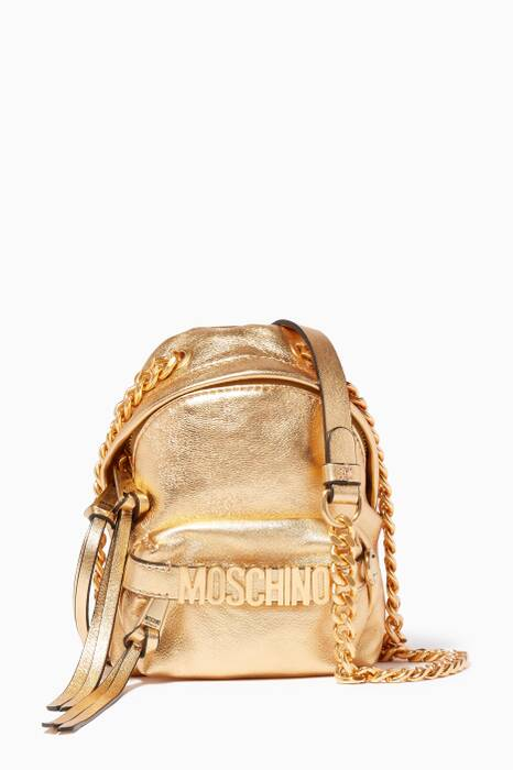 Gold Mini Lettering Leather Backpack