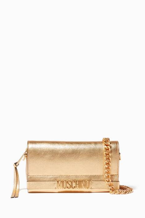Gold Mini Lettering Leather Shoulder Bag