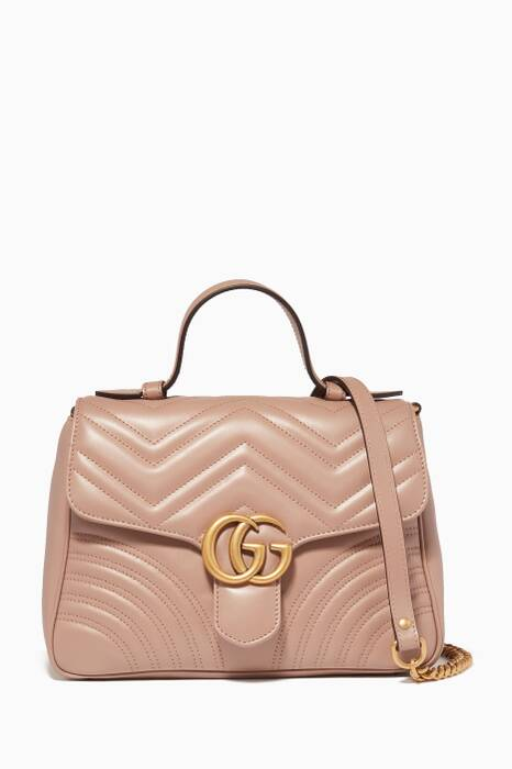 Light-Pink Small GG Marmont Top Handle Bag