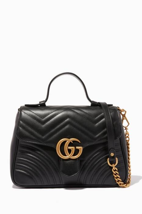 Black Small GG Marmont Top Handle Bag