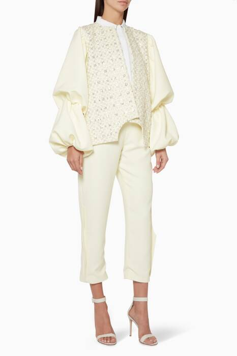 Ivory Embellished Blazer & Cropped Pants Set