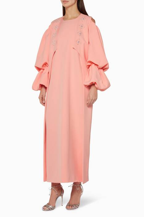 Pastel-Pink Embellished Cold-Shoulder Dress