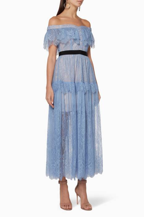 Blue Off-The-Shoulder Lace Midi Dress