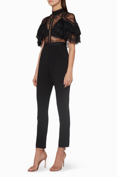 Black Fine Lace Panelled Jumpsuit