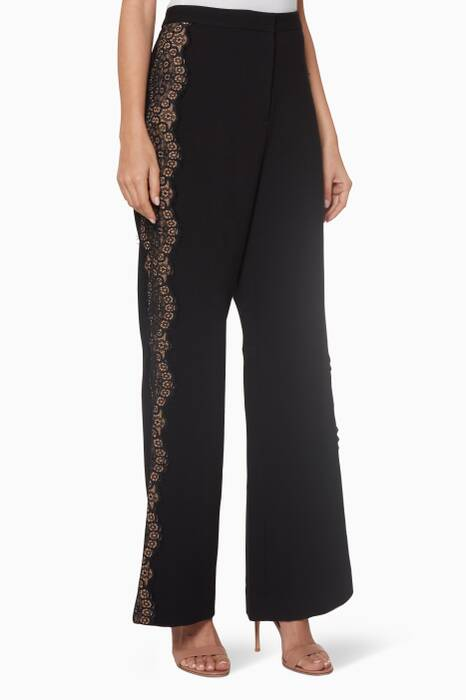 Black Wide-Leg Crepe Pants