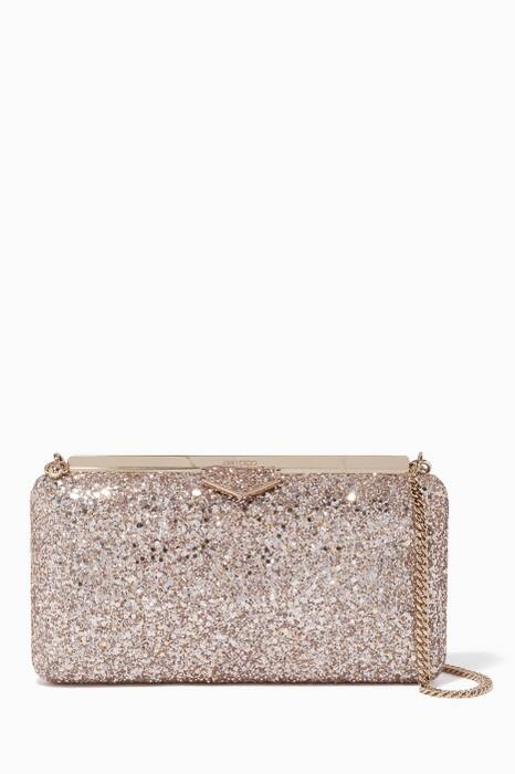 Gold Ellipse Coarse Glitter Clutch