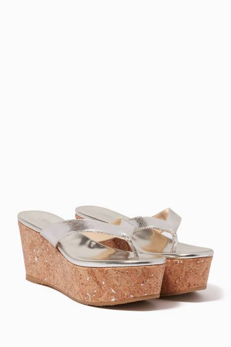 Metallic Silver Paque Wedges