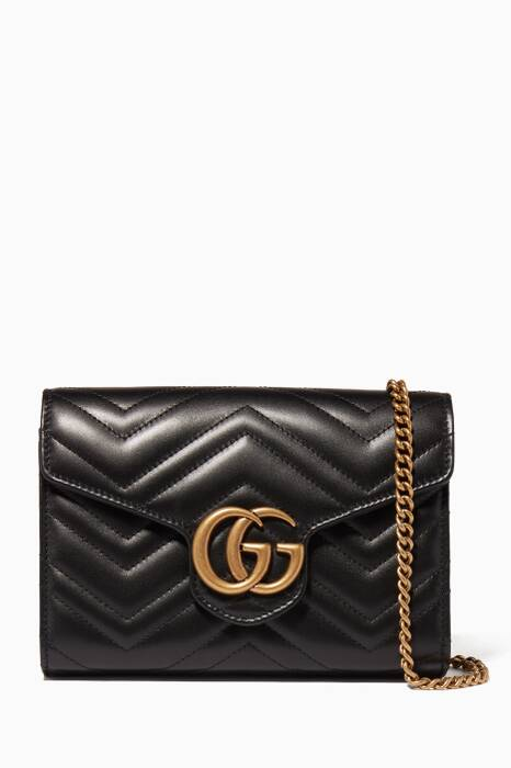 Black GG Marmont Matelassé Mini Chain Wallet Bag